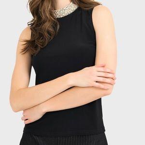 Black Sleeveless Top w/ Pearl Collar sz 8